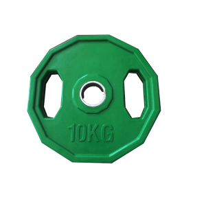 2018 customized rubber coated twelve sided weight plates 2 hole