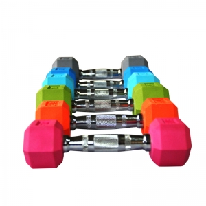 China Fitness Color Pairs fo Rubber Hex Dumbbell Set Wholesaler