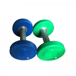 China Hand  PU Rubber Polyurethane Weights Dumbbell Set with Rack for Sale