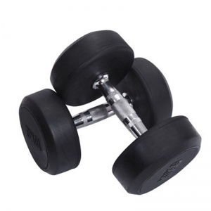 Commercial Black Round Rubberized stainless steel Dumbbells