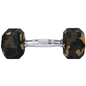 China Fitness training Rubber hex dumbbells camouflage color/fitness dumbbell factory