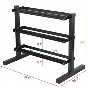 China Wholesale Supplier Black 3 Tier Vertical Dumbbell Rack factory